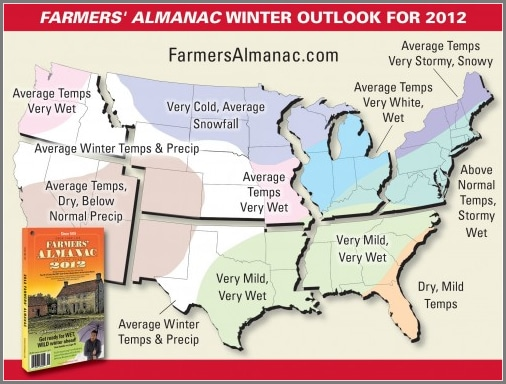 Farmer's Almanac First Snow Map